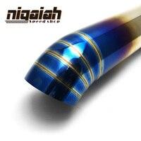 Вход: 66 мм выход: 76 мм Длина: 385 мм Универсальный 304 нержавеющая сталь синяя краска локоть выхлопная труба автомобиля
