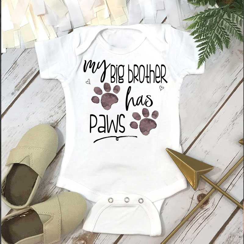 DERMSPE 0-24M Infant Newborn Baby Boy Girl Short Sleeve Letter Print My Big Brother Has Paws Romper Outfits Summer Baby Clothes