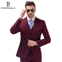 2017 New Fashion Gentleman Men Suit Casual One Button Men's Blazer Formal Groom Wedding Dress Jacket+Vest+Pants Plus Size S-4XL