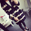 2017 Autumn Women Long Knitted Cardigans female Sweater Coat Loose V-neck black and white stripe With pocket Outerwear 057625