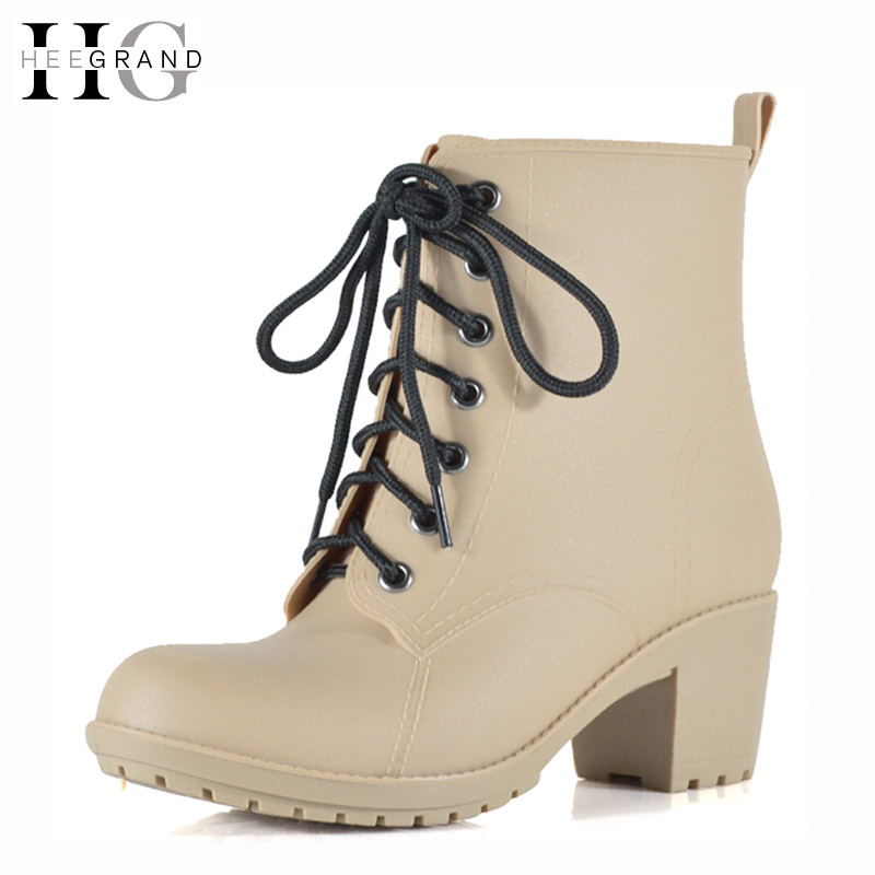 HEE GRAND Lace-Up Rain Boots Woman Fashion Med Heels New Shoes Woman High Quality Casual Hot Sale Women Boots Size 36-40 XWX4924 hot sale brand new high quality safer body fitness building pro circle chin up system gravity inversion boots