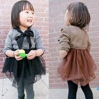 BabyCity 2014 Winter New Girls Dress Houndstooth Skirt Children Dress Korean Version Of The Childfree