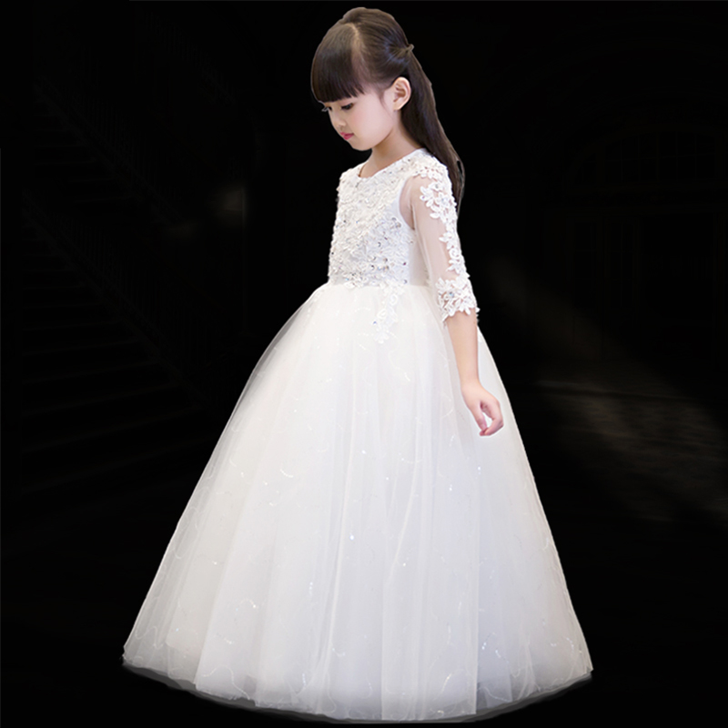 Beautiful dresses Tulle evening girl embroidery lace sequin wedding ball gowns 2018 girl princess floral dress kid party pageantBeautiful dresses Tulle evening girl embroidery lace sequin wedding ball gowns 2018 girl princess floral dress kid party pageant
