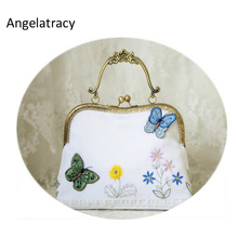 Double-side Stereo Embroidery Butterfly Handbag Floral Flower Kiss lock Clasp Crossbody White Bags New Fashion Gift 3 Styles