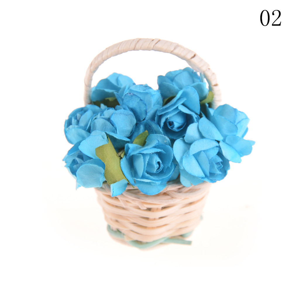 Miniature lily rose Flower Plant Basket for Dollhouse Home ...