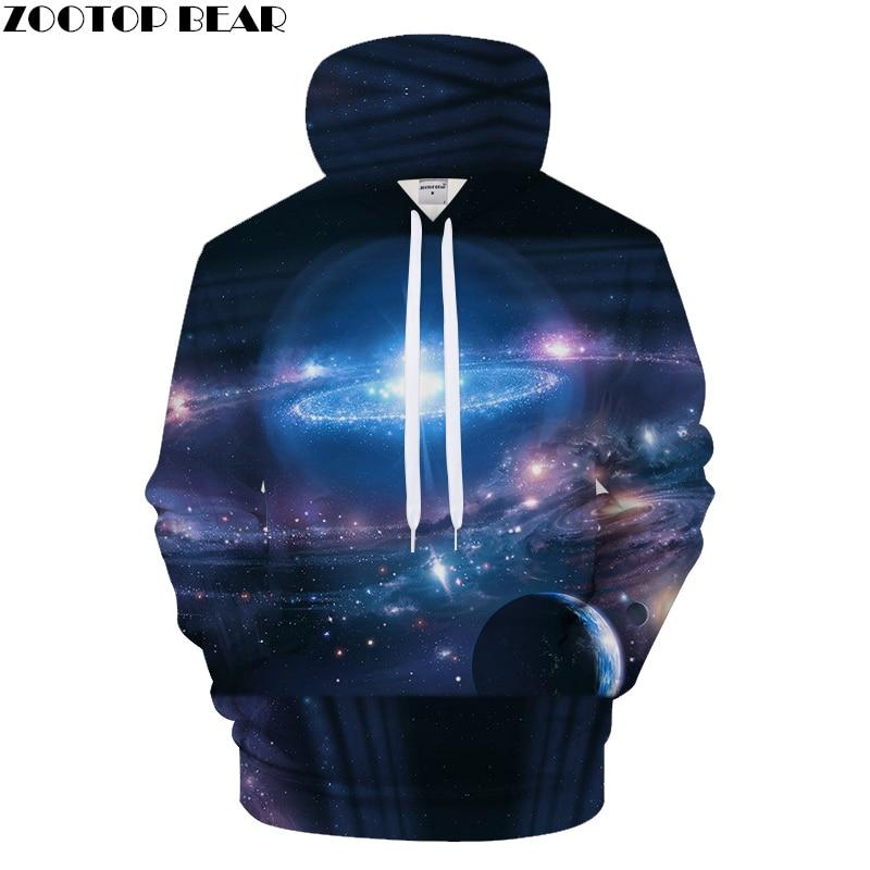 Space Galaxy 3d Sweatshirts Men/Women Hoodies With Hat Print Stars Nebula Autumn Winter Loose Thin Hooded Hoody Tops Asian size
