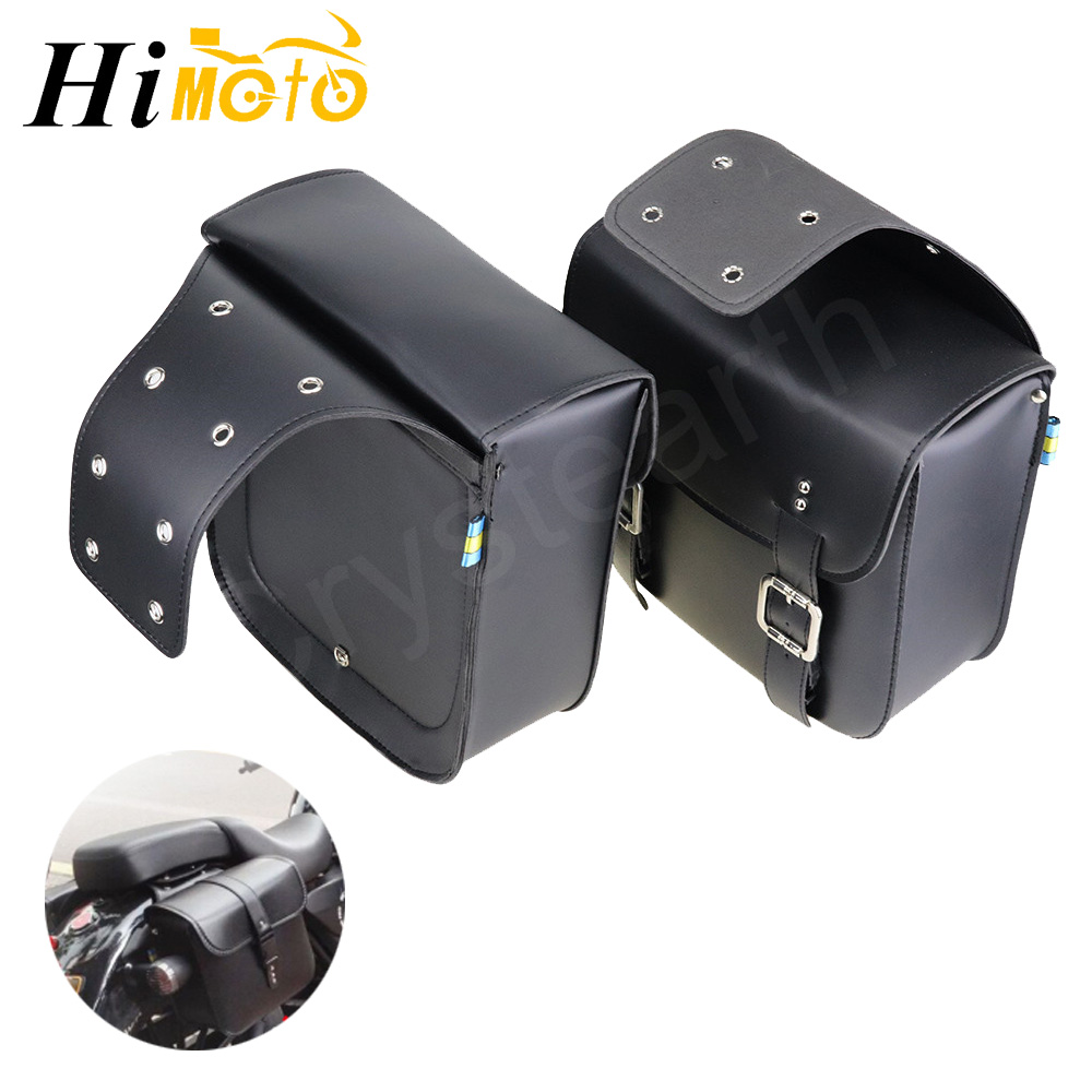 Black PU Leather Motorcycle Saddlebags Side Luggage Tool Bags Saddle Bag For Harley Sportster XL883 XL1200 XL 883 1200