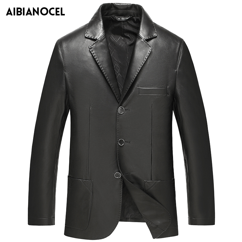 Mens Leather Suit Jacket Lapel Collar Real leather Jacket Genuine Leather Coat Men Slim Fit Suit Jacket Spring Sheepskin Jacket