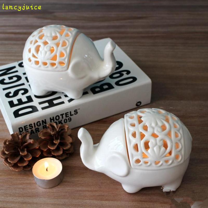 elefante de cermica titular de la vela blanca classic wedding party bar decoracin de velas decoracin