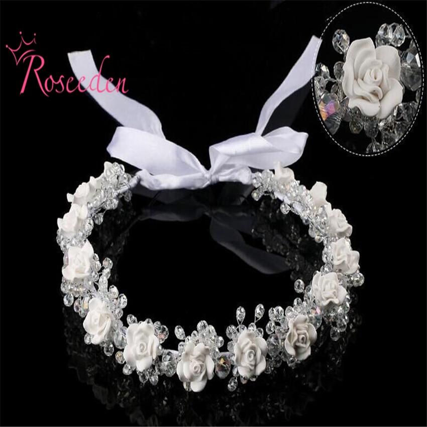 високоякісна квітка для нареченої ручної роботи весільні коронки тіани Весільний аксесуар для волосся Весільний волосся шматок волосся волосся RE580