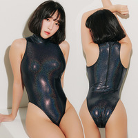 Lunamy 2019 Sexy Shiny Bodysuits High Collar One Piece Swimwear Women Glitter Bathing Suits Female Swimsuit High Cut Body Suit