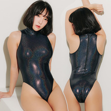 Lunamy 2019 Sexy Shiny Bodysuits High-Collar One Piece Swimwear Women Glitter Bathing Suits Female Swimsuit High Cut Body Suit