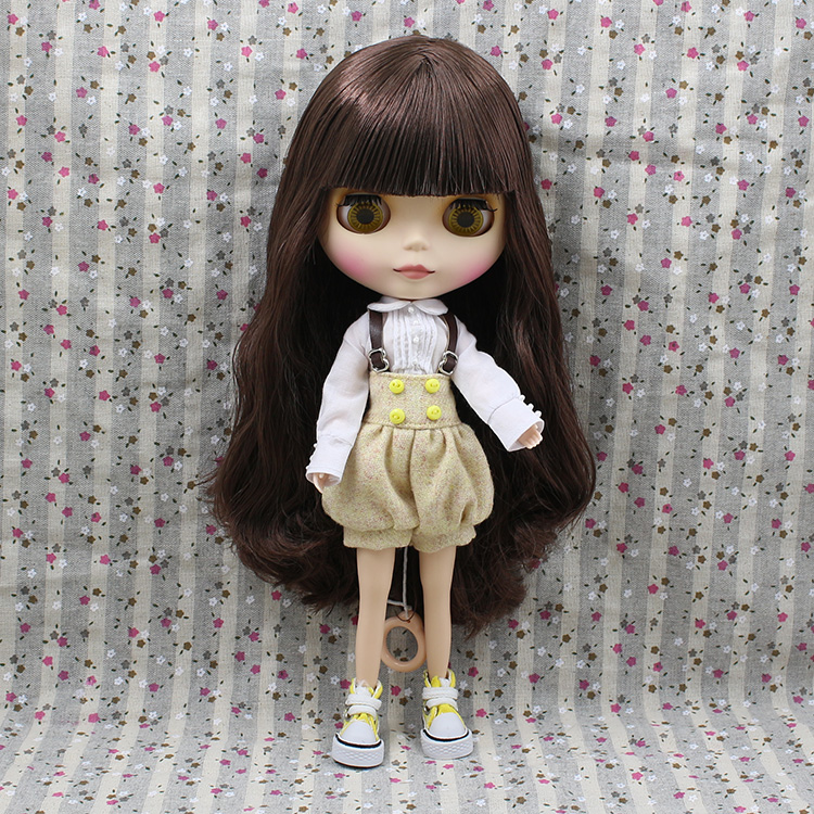 Free shipping Blyth Nude Doll For Series No 230BL441 Brown long hair with bangs Factory Blyth