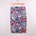Hot sale novelty geometric print women casual faldas pencil skirts 2016 western fashion design vogue girl slim bottoms low price