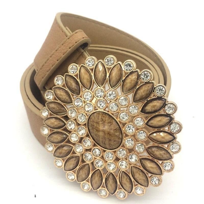 Rihschpiece Leather Belts For Women Luxury Women Belt Buckle Vintage Gold Fashion Waist Belt RZF748