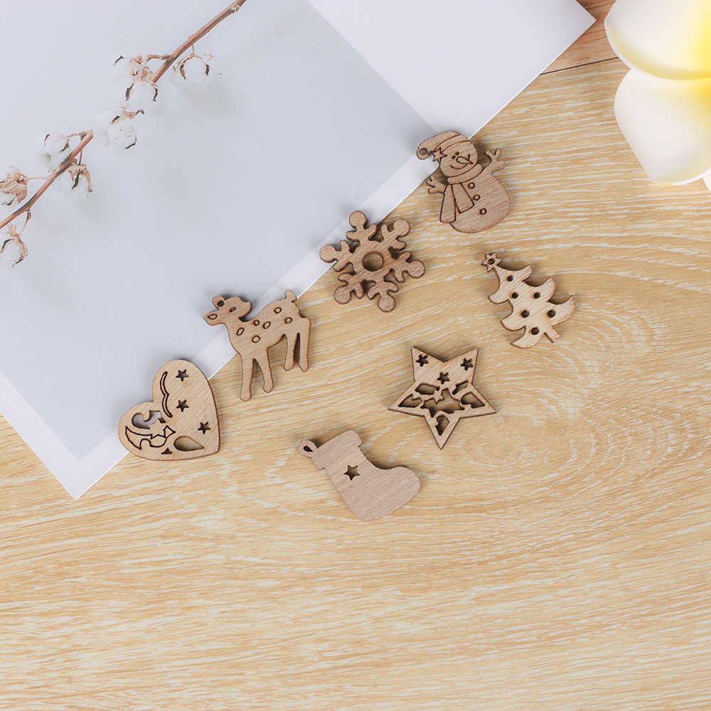 50Pcs Natural Kayu Chip Ornamen Natal Mengukir Hiasan Liontin Dekorasi dengan Lubang Lembar Memo Hiasan Multi Gaya DIY Kerajinan