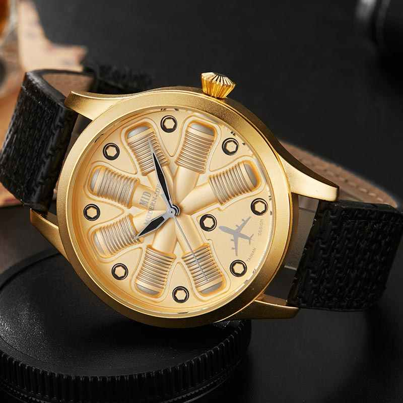 442471bc7 ... Unique Cool Aircraft Engine Shape Black Mens Watches Top Brand Luxury  Military Male Watch Sport Wristwatch