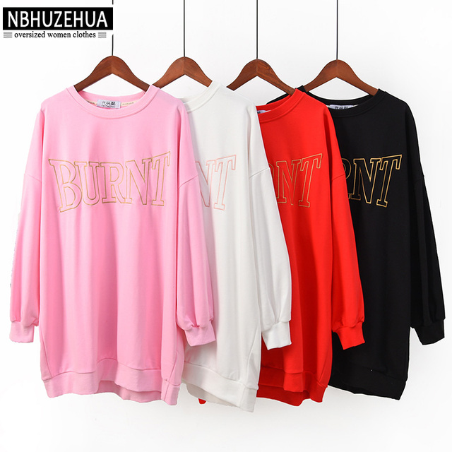 NBHUZEHUA 7G936 Women Sweatshirts Plus Size Kawaii Bear Print BlackPink Autumn Cotton