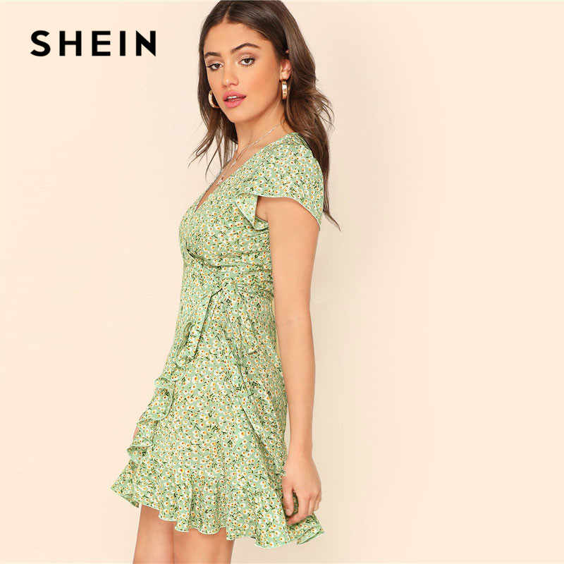 548692dbd4 ... SHEIN Boho Green Fresh Daisy Print Ruffle Trim Surplice Dress Women  Summer Beach Deep V Neck ...