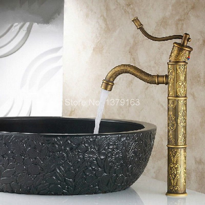 Antique Brass Carved pattern Bamboo Style Single Handle Lever Bathroom Deck Mounted Faucet Vessel Sink Basin Mixer Tap anf163 free shipping single lever wall mounted vessel basin sink faucet mixer tap black color