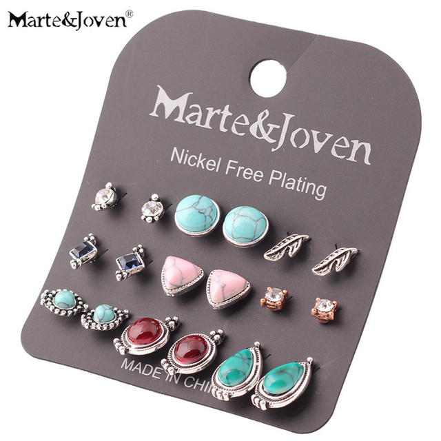 [Marte&Joven] 9pairs/set Retro Green Stone Stud Earring Sets Mixed Leaf Square Triangle Round Steampunk Party Earring for Women