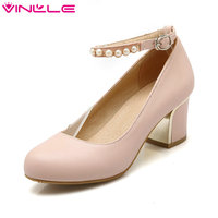 Round Toe Ankle Strap Soft PU Woman Pumps Platform Summer Dating Lady Shoes Women Thick High