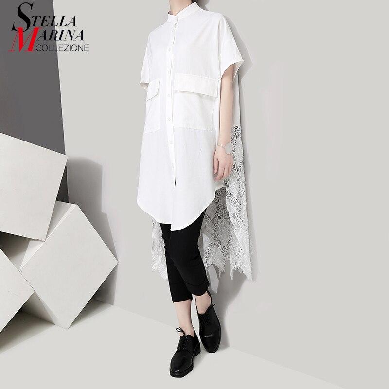 2019 Korean Style Women Summer Long White   Blouse     Shirt   Long Lace Back Ladies Casual Plus Size Feminine   Shirts   chemise femme 5076