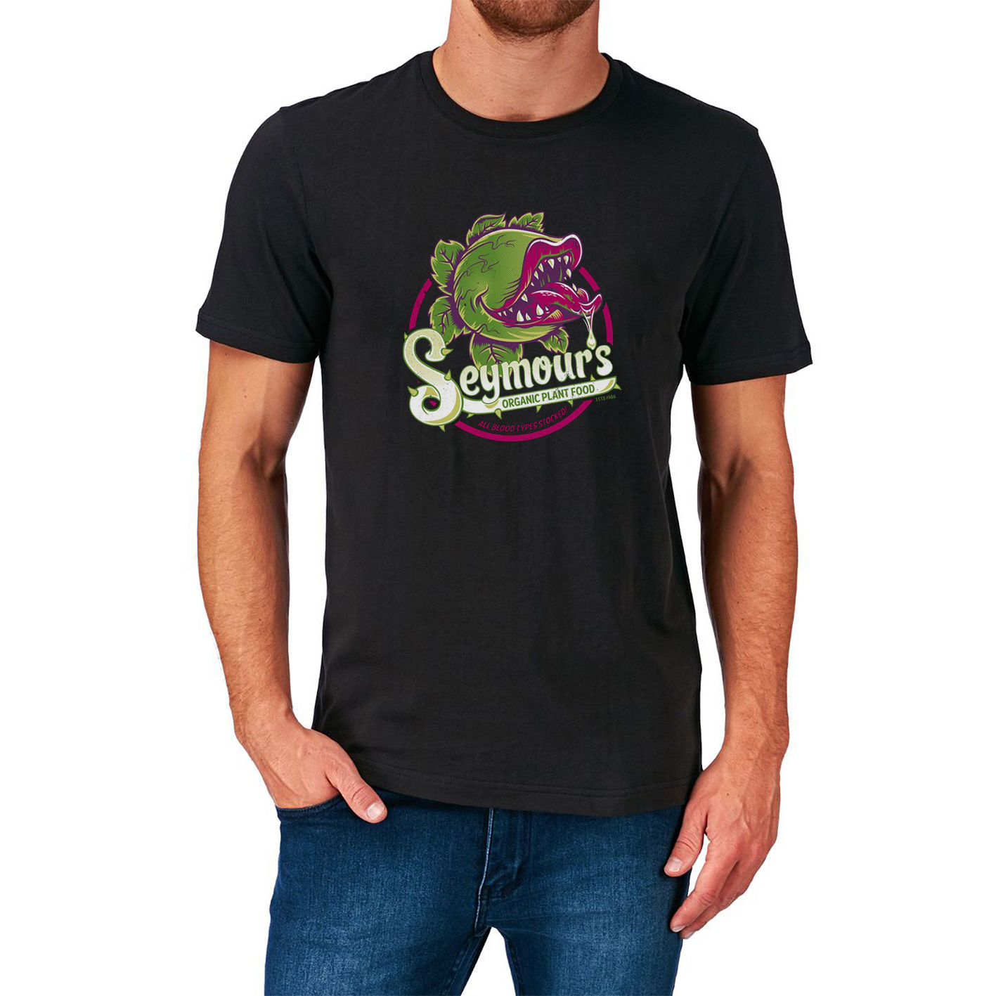 SEYMOURS ORGANIC PLANT FOOD T SHIRT LITTLE SHOP OF HORRORS 1980S CULT MOVIE