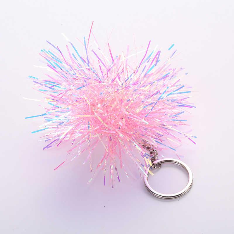 Bola de Cabelo de Seda brilhante Lantejoulas Chaveiros Chave Da Cadeia de Moda Saco da Senhora Pingente de Acessórios de Carro Brinquedo de Presente Bugigangas Chave Anel jóias
