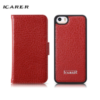 ICarer For IPhone 5S Case Luxury Retro Magnetic Leather Hard Plastic Back Protective Flip Phone Case
