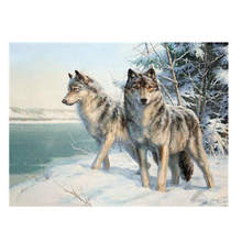 Living Room Decoration,Paintings By Numbers On Canvas,Snow wolf,Canvas Pictures For