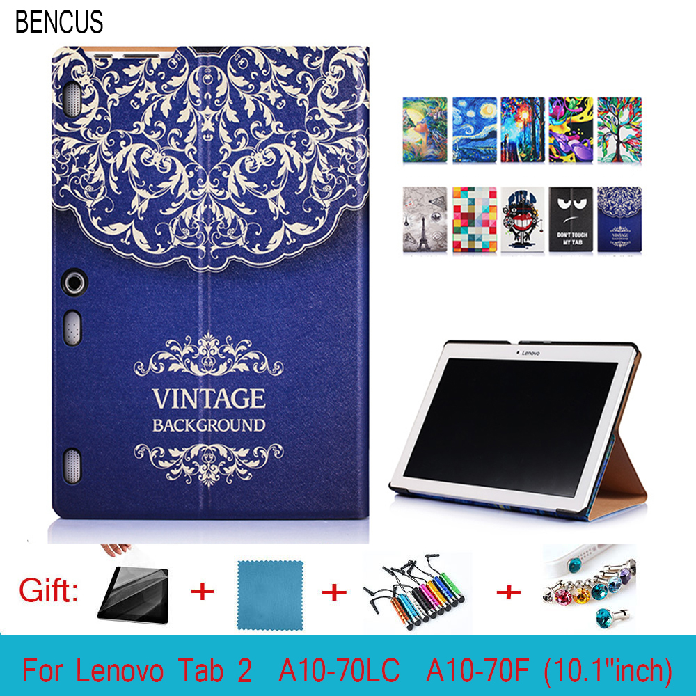 BENCUS PU Leather Painted Case For Lenovo Tab 2 A10 70F Case Cover For Tab2 A10-70 70 A10-70F A10-70L A10-30 X30F 10.1 Tablet