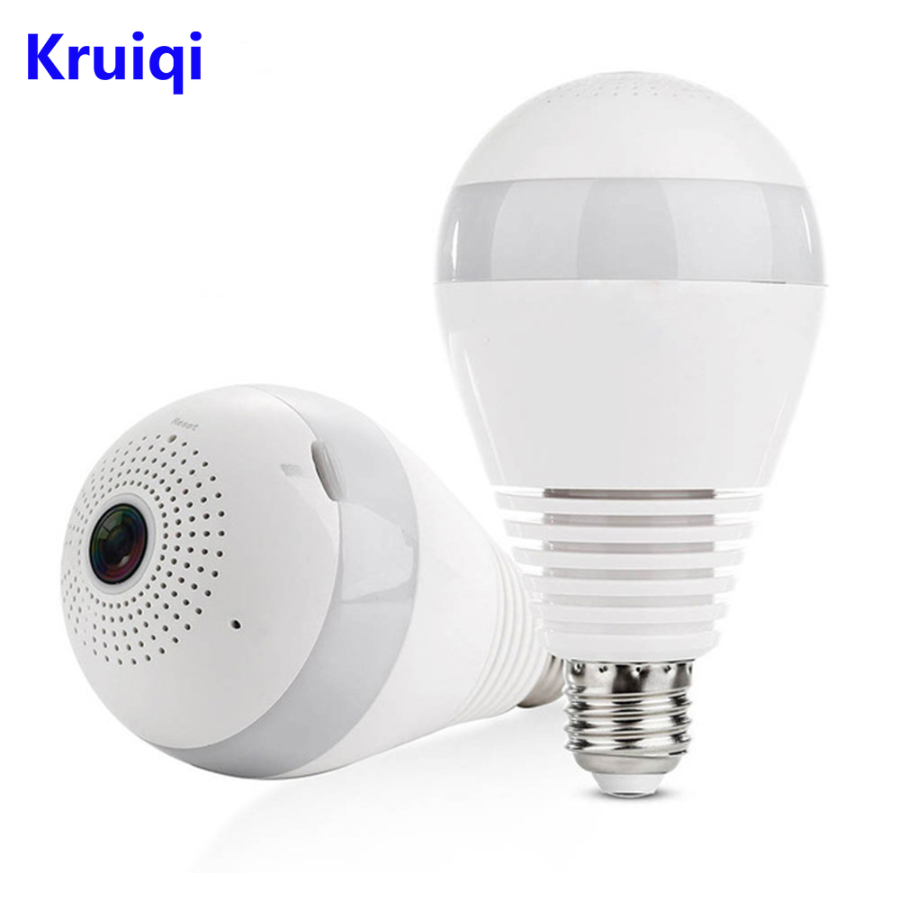 Kruiqi WiFi IP Camera 960P Home Security Camera Panoramic Bulb LED Light Fisheye With Two-way Audio Motion Detection IP Camera ip 175wm bulb wifi camera 960p home security ip camera app remote control p2p ir led light wifi camera with white light
