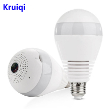 Kruiqi WiFi IP Camera 960P Home Security Panoramic Bulb LED Light Fisheye With Two-way Audio Motion Detection