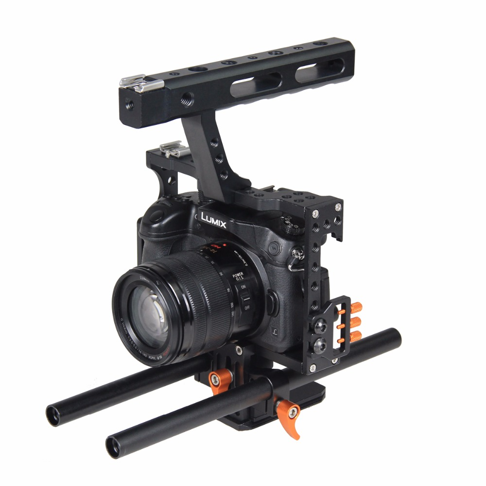 Aluminum Alloy Film Movie Making Camera Video Cage with 15mm Rod System Rig for Sony A7 Camera A7II/A7s/A7r/A7Rii Panasonic GH4Aluminum Alloy Film Movie Making Camera Video Cage with 15mm Rod System Rig for Sony A7 Camera A7II/A7s/A7r/A7Rii Panasonic GH4