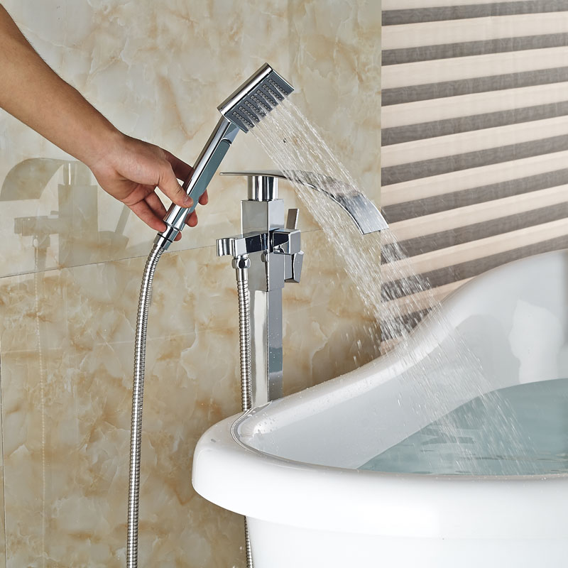 Single Handle Free Standing Bathroom Waterfall Bathtub Faucet Brass Tub  Mixer Taps Floor Mount With Handshower In Shower Faucets From Home  Improvement On ...