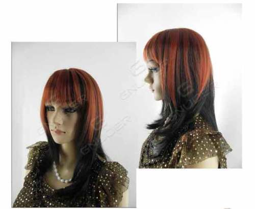 Long Red Black White Straight Hair Cosplay Wigs For Women