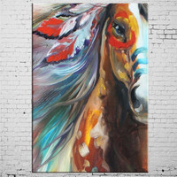 Handgeschilderde amerikaanse indische paard olieverf home decoratieve wall art foto schildert grote goedkope dier canvas foto