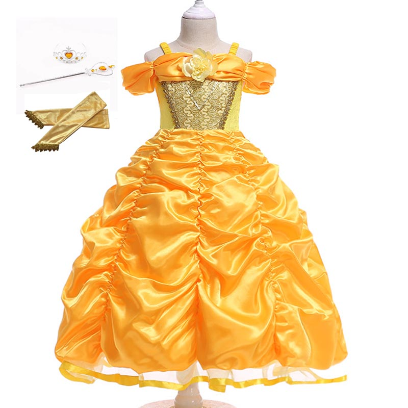 Girls Dresses Girls Belle Dress Children Princess Party Fairy Tales Cosplay Costume Children Stage Fantasy Show Clothes image