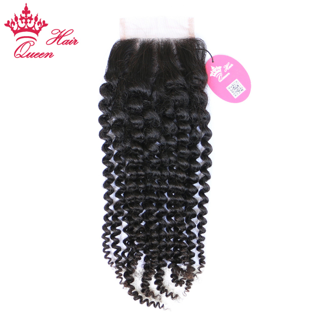 """Queen Hair Products Brazilian Kinky Curly Virgin Hair Lace Closure 4""""x4""""100% Human Hair Free Part Style Natural Color"""