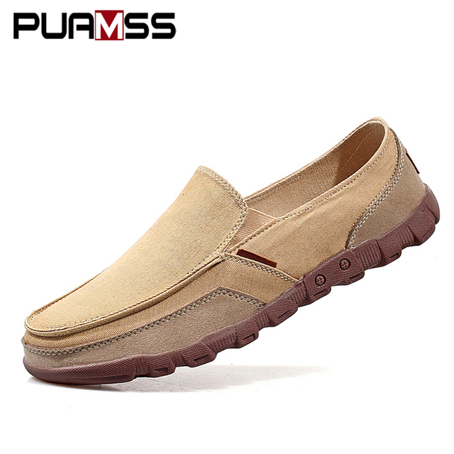 Summer Men Canvas Shoes Men's Fashion Solid Comfortable Casual Shoes Men Lace-up Light Summer Loafers Shoes Plus Size 38-48