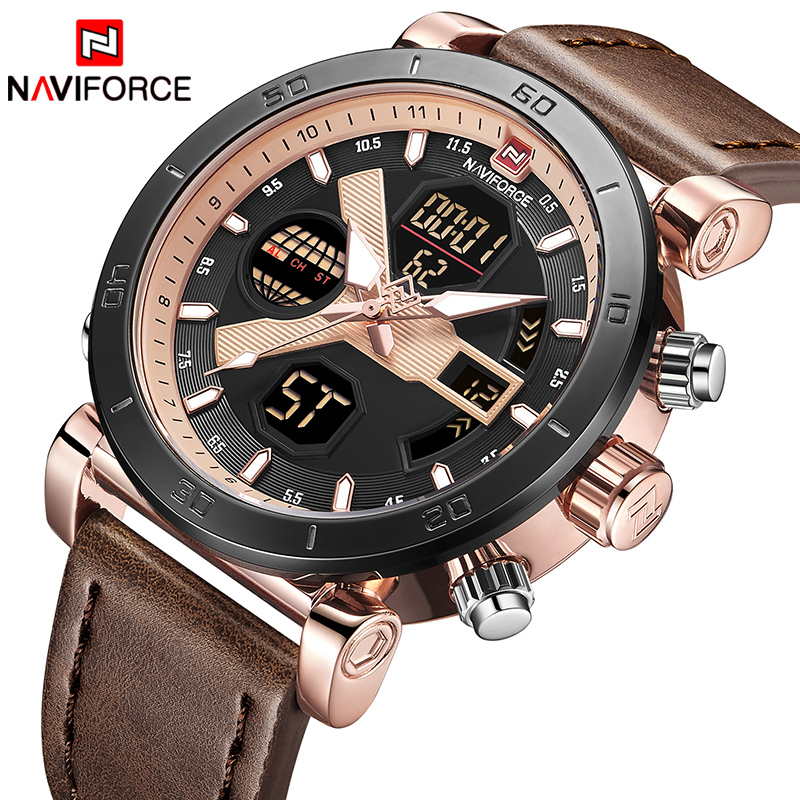 Luxury Brand Men Fashion Sport Watches NAVIFORCE Men's Quartz Digital Clock Man Leather Military Wrist Watch relogio masculino new car 12v led license number plate lights for vw canbus 18smd led tail license light for seat arosa ibiza cordoba leon toledo