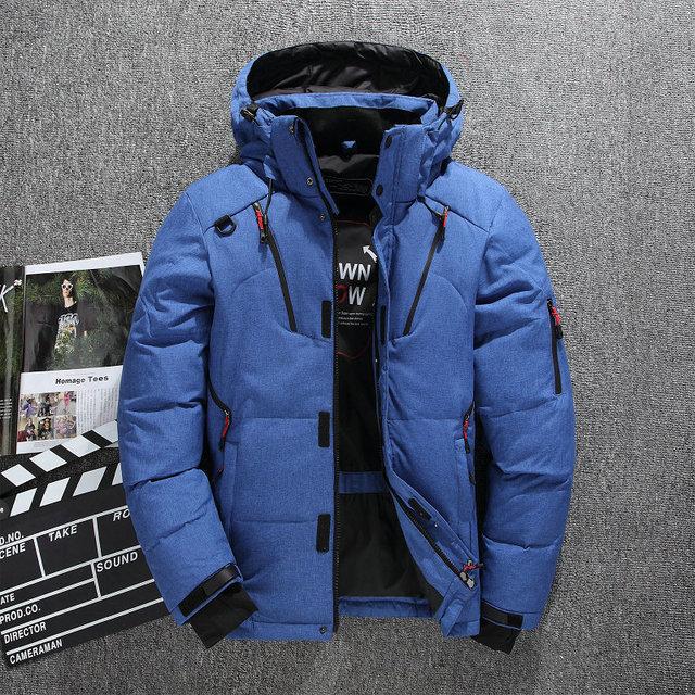 厚く暖かい冬フード付きカジュアル屋外男ダウンジャケットパーカーファッションウインドブレーカーメンズオーバーコート