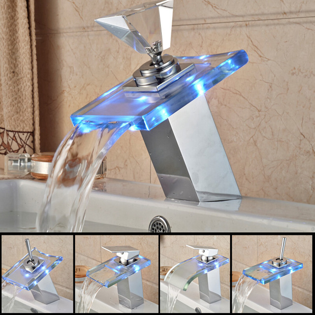 Free Shipping Basin Faucet Glass Waterfall Spout with LED Light Single Handle Chrome Polished