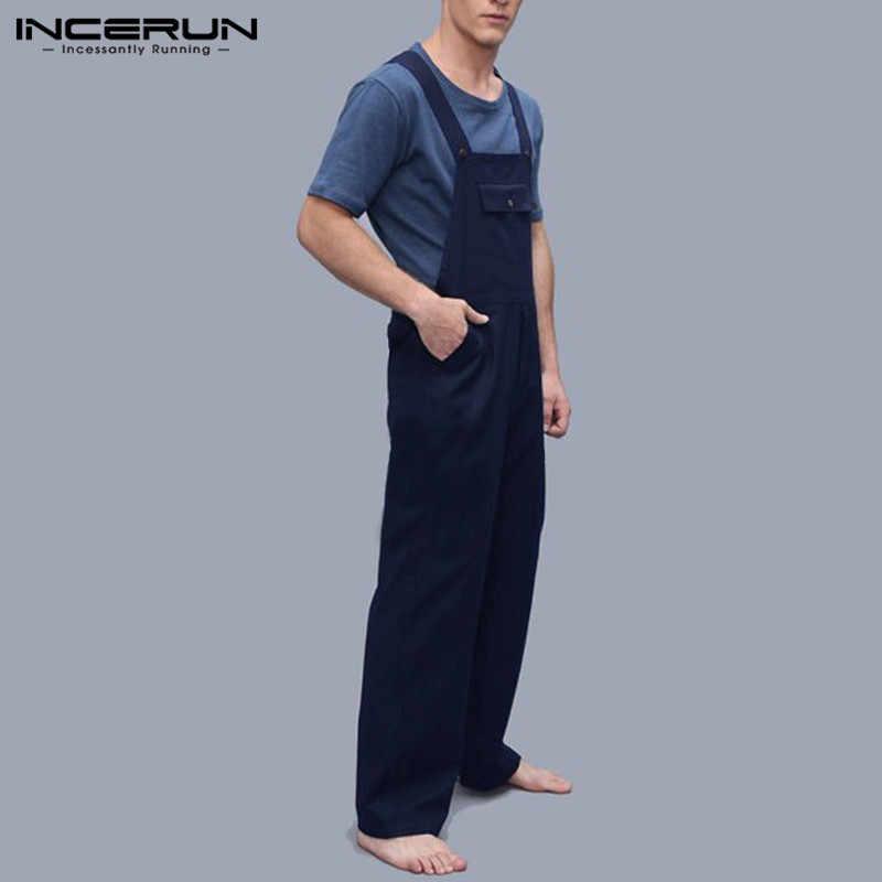 INCERUN ファッション男性ジャンプスーツロンパースポケットソリッドルースストラップサスペンダーパンツ男性ジョギング古典オーバーオールストリート 2019