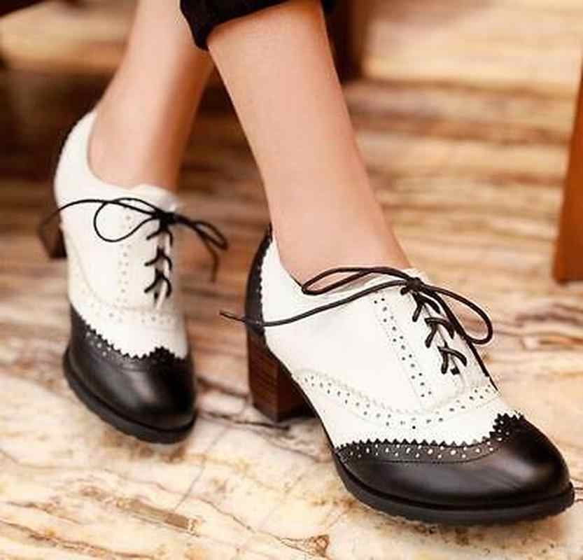 Womens Wingtip Lace Up Retro Brogues Meisje Preppy PU Leer Oxfords Schoenen Block Chunky Heel Leuke Lolita Pompen Plus Size a910