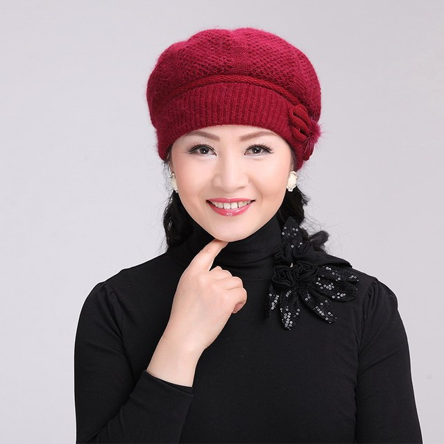 Mother thermal hat female winter quinquagenarian rabbit hair blended fabric knitted hat the elderly thickening cap knitted hat
