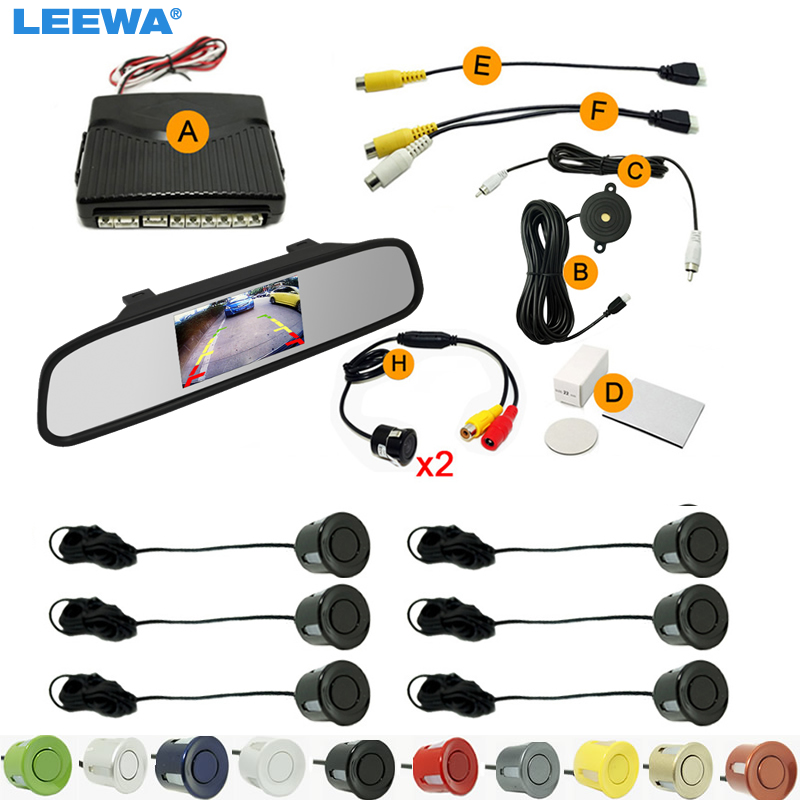 LEEWA Car 4.3 Rearview Mirror Monitor 6-Sensor Parking Sensor 2pcs CCD Camera Dual Video Rearview Parking System  #CA1977