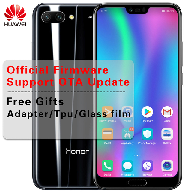 Stock Huawei Honor 10 AI Smartphone Glass Body 5.84 inch Kirin 970 Octa Core 2.36GHz Full View Screen 3 Cameras 24.0MP NFC