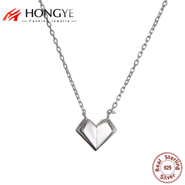 4ff78fbbfac31 US $14.98 |HONGYE 925 Sterling Silver Women Heart Pendant Necklaces Cute  Simple Double Heart Clavicle Chain Choker 2018 Summer New Arrival-in  Pendant ...